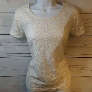 White Lace Blouse Merona Size Xs